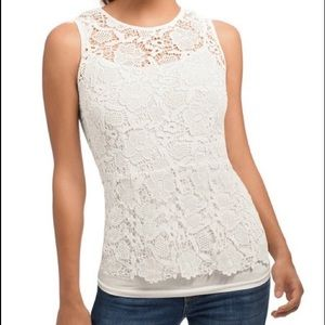 CAbi #800 Needle Lace Shell Top Peplum Small